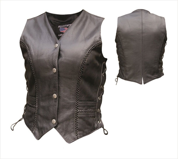 Womens Braided Leather Vest w/ Side Laces