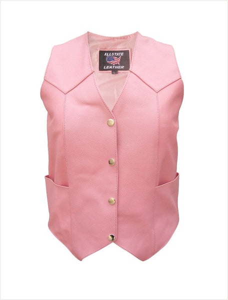Womens Pink Cowhide Leather Vest