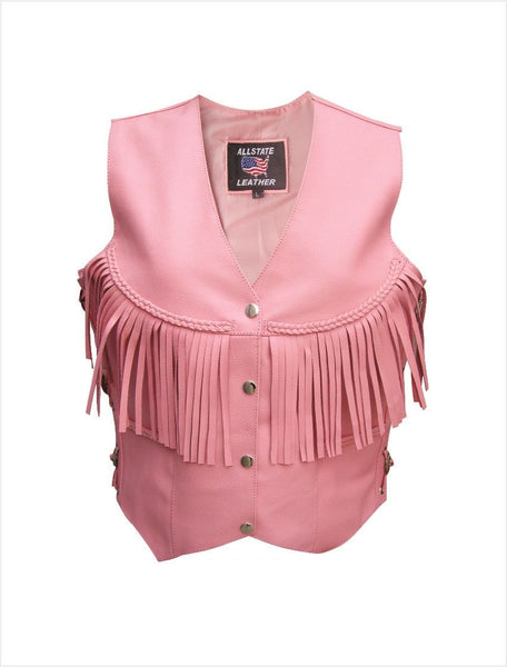 Womens Pink Leather Vest w/ Fringe, Braid & Side Laces