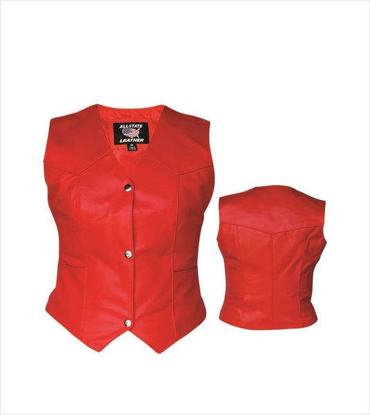 Womens Red Leather Motorcycle Vest