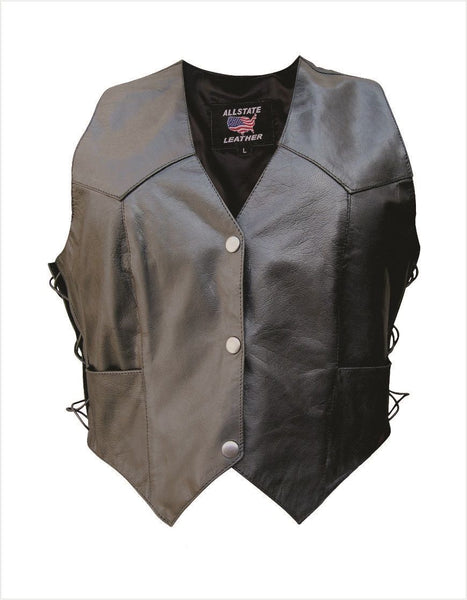 Womens Naked Cowhide Leather Vest w/ Side Laces