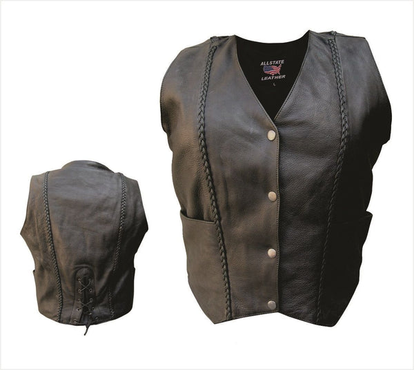 Womens Naked Cowhide Leather Vest w/ Vertical Braid