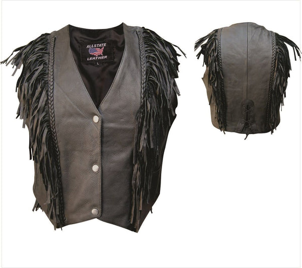 Womens Naked Cowhide Leather Vest w/ Vertical Braid & Fringe
