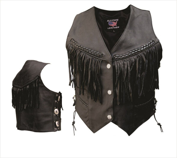 Womens Naked Cowhide Leather Vest w/ Fringe, Braid & Conchos