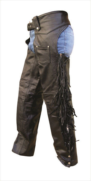 Unisex Buffalo Leather Motorcycle Chaps with Braid and Fringe