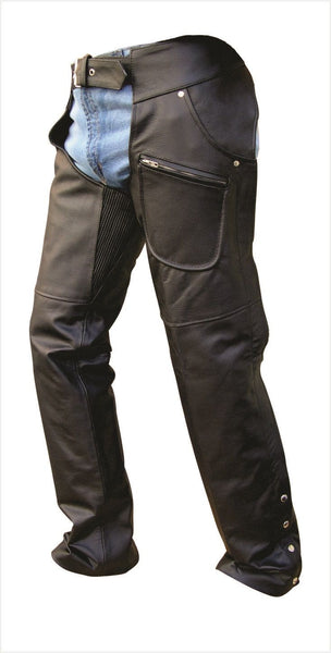 Unisex Leather Motorcycle Chaps with Spandex Waist and Thighs