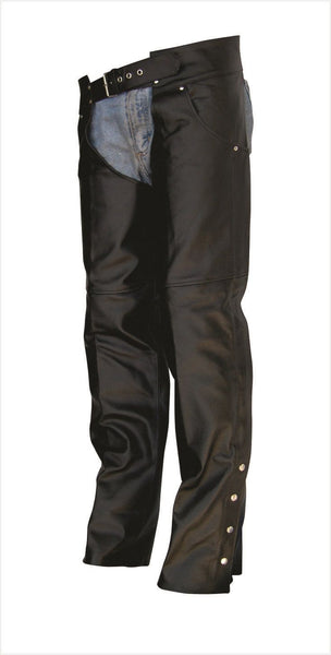 Unisex Leather Motorcycle Chaps with Jean Style Pockets