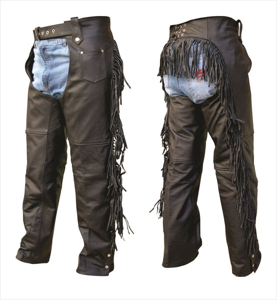 Womens Buffalo Leather Motorcycle Chaps with Fringe