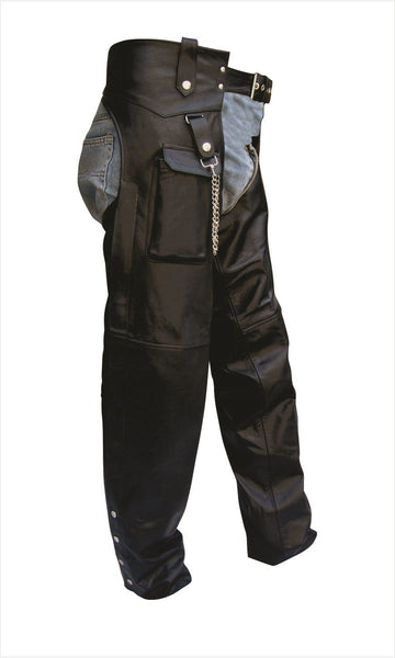 Unisex Leather Motorcycle Chaps with Cargo Pocket