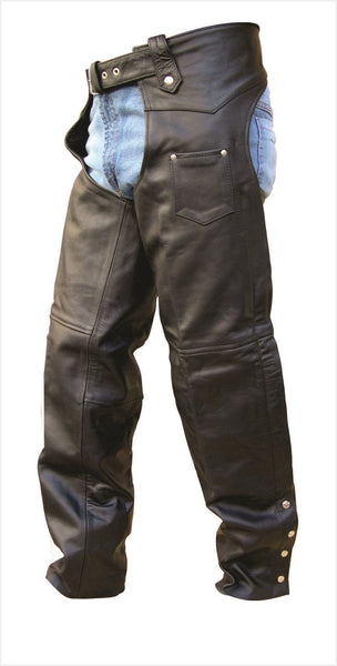 Unisex TALL Buffalo Leather Motorcycle Chaps with Lining
