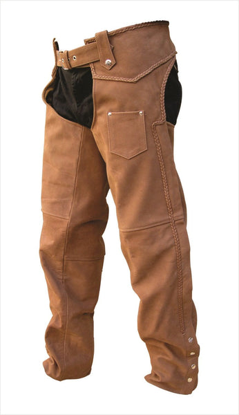 Unisex Braided Brown Buffalo Leather Motorcycle Chaps