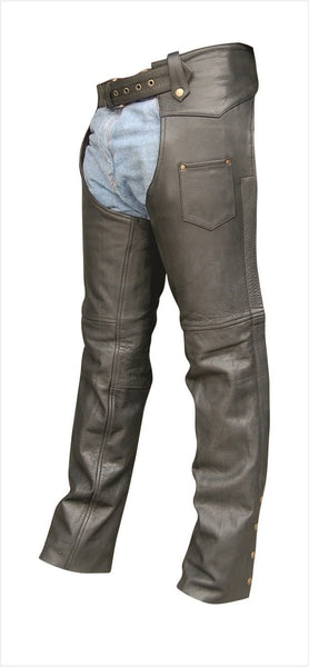 Unisex Buffalo Leather Motorcycle Chaps with Antique Hardware