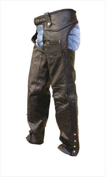 Unisex Braided Leather Motorcycle Chaps