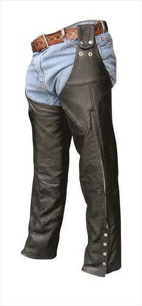 Unisex Belt Loop Leg Warmer Buffalo Leather Motorcycle Chaps