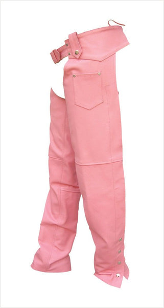 Womens Pink Cowhide Leather Motorcycle Chaps