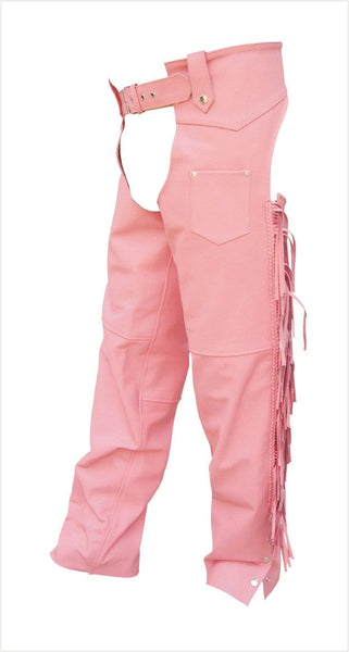 Womens Pink Leather Motorcycle Chaps with Fringe and Braid