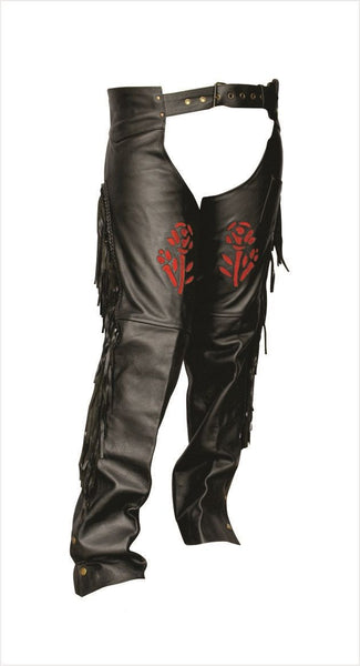 Womens Leather Motorcycle Chaps with Red Rose, Fringe and Braid
