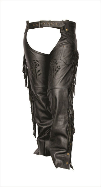 Womens Leather Motorcycle Chaps with Black Rose, Fringe and Braid