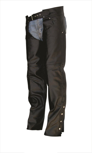 Unisex Buffalo Leather Motorcycle Chaps with Jean Style Pockets
