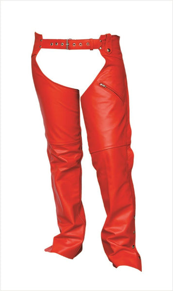 Womens Red Leather Motorcycle Chaps
