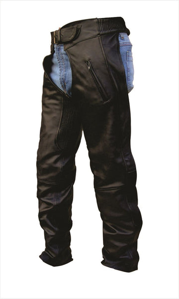 Unisex Leather Motorcycle Chaps with Elastic Waist and Thighs