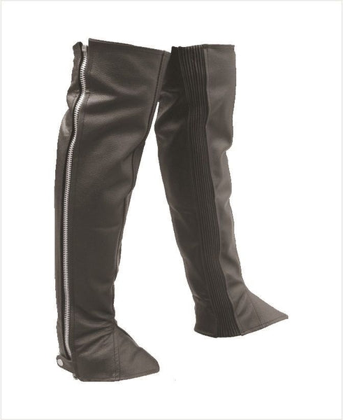 Unisex Leather Half Chaps with Spandex