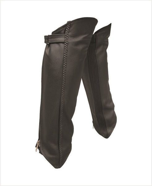 Unisex Braided Leather Half Chaps with Spandex