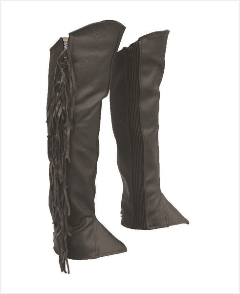 Unisex Leather Half Chaps with Fringe and Spandex
