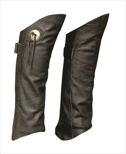 Unisex Leather Half Chaps with Conchos