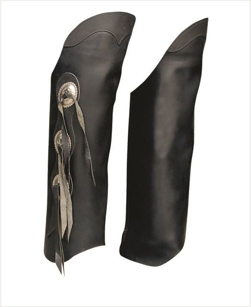 Unisex Hard Cowhide Leather Half Chaps with Three Conchos on Side