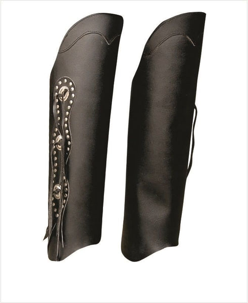 Unisex Hard Cowhide Half Chaps with Three Studded Conchos on Side