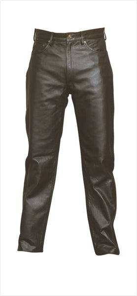 Mens Five Pocket Cowhide Leather Pants