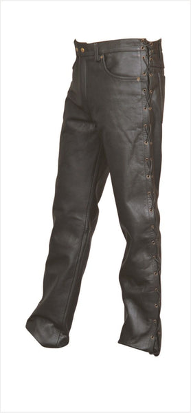 Mens Five Pocket Leather Pants with Side Laces