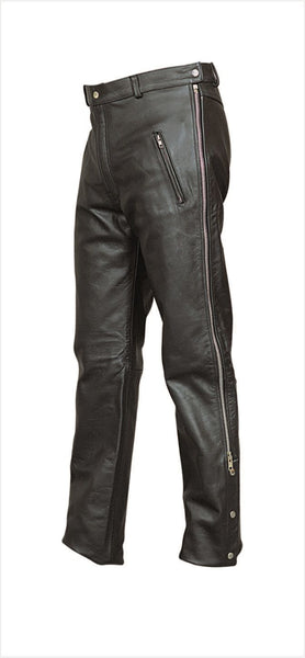 Mens Leather Motorcycle Chap Pants with Zippered Sides
