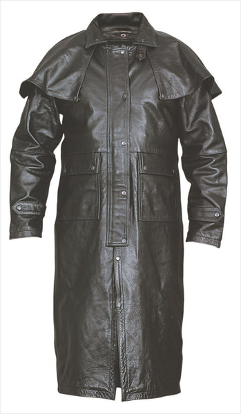 Mens Black Leather Duster w/ Leg Straps, Z/O Liner & Removable Cape