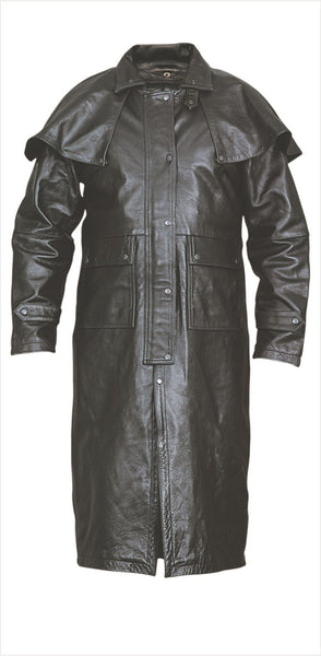 Mens Cowhide Leather Duster w/ Leg Straps, Z/O Liner & Removable Cape