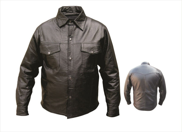 Mens Western Style Leather Shirt