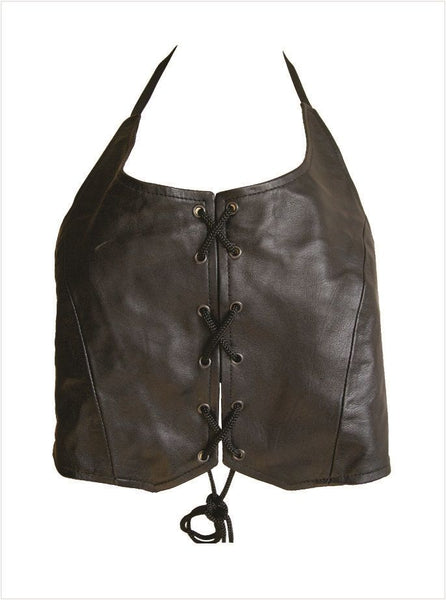 Ladies Leather Halter Top w/ Tie-up Lace on Front & Back
