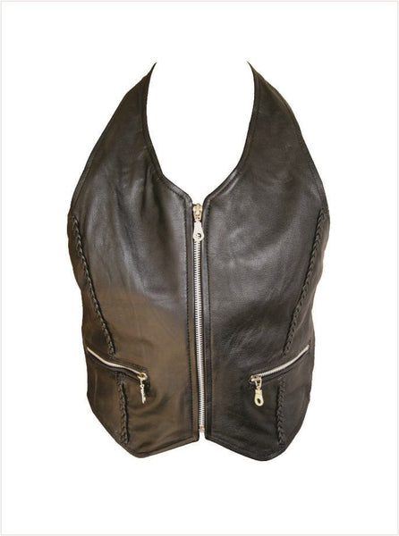 Ladies Leather Halter Top w/ Braid & Zippered Pockets