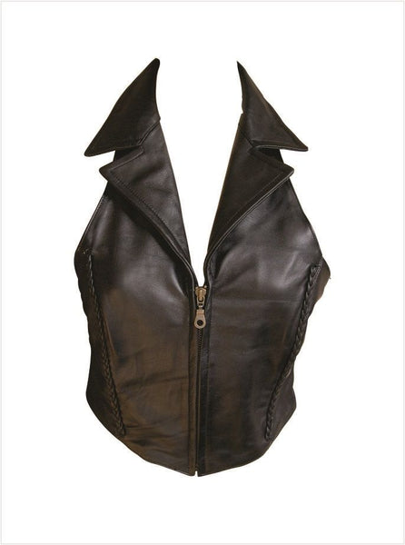 Ladies Leather Top w/ Braid & Criss-Cross Back