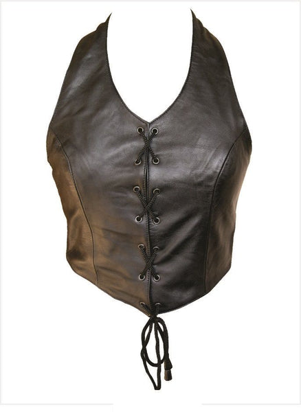 Ladies Leather Halter Top w/ Lace-Up Front