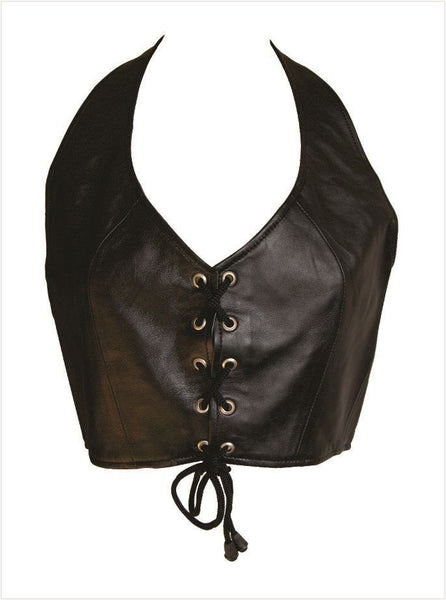 Ladies Leather Halter Top w/ Laces on Front