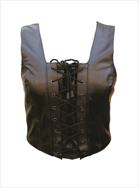 Ladies Leather Halter Top w/ Laced Front & Zippered Back