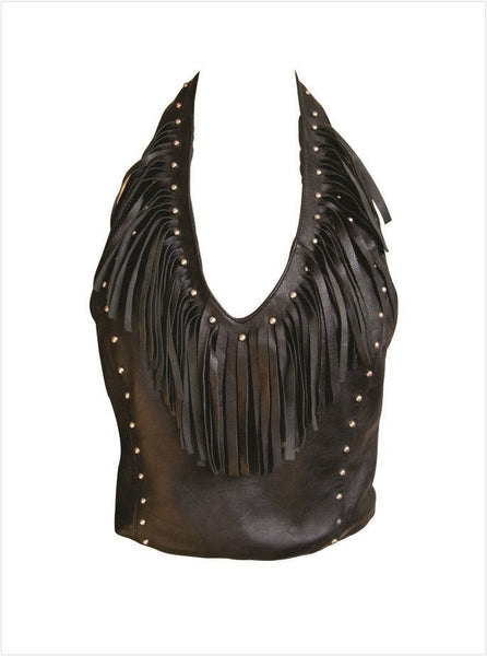 Ladies Leather Halter Top w/ Studs & Fringes