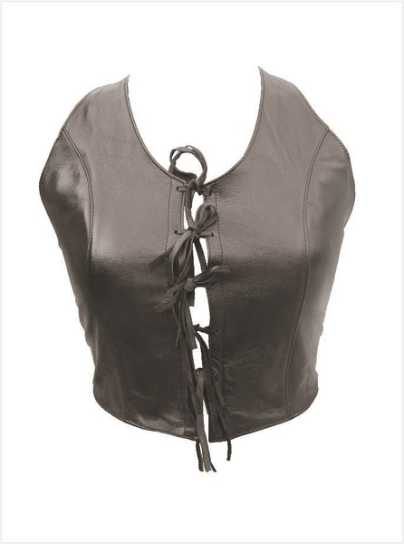 Ladies Leather Halter Top w/ Bow Laces