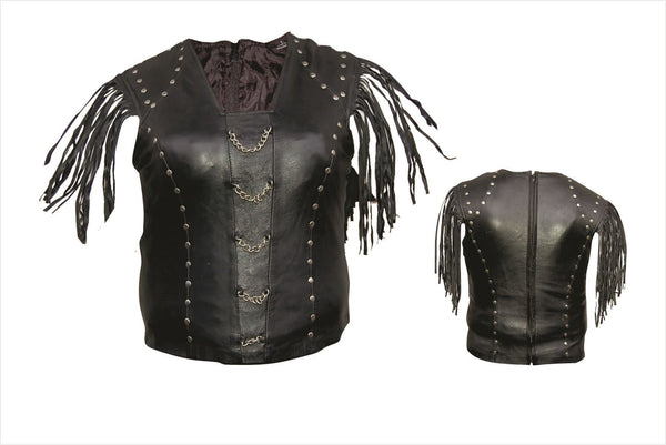 Ladies Leather Halter Top w/ Studs, Fringe & Chains