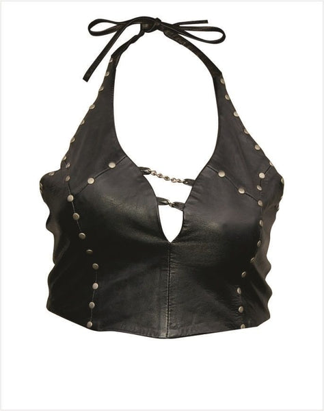 Ladies Leather Halter Top w/ Studs & Chains