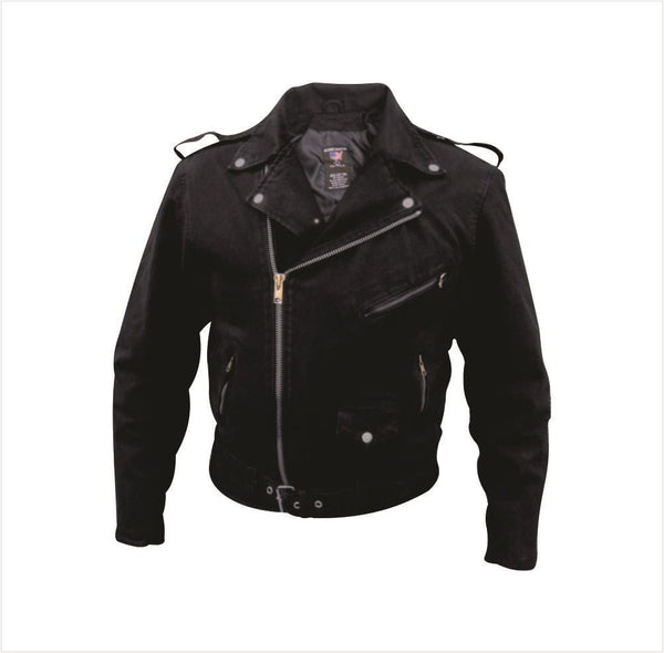 Black Classic Denim Motorcycle Jacket