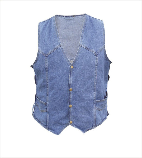 Blue Denim Vest w/ Side Laces