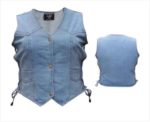 Womens Blue Denim Vest with Side Laces